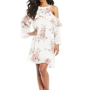 Santcuary Cold Shoulder Floral White Dress NEW